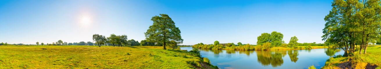 Wall Mural - Landschaft im Sommer mit Fluss, Sonne, Wiese und Baum