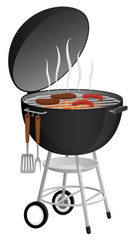 Vector illustration food cooking on a charcoal grill.