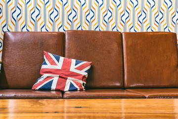 union jack flag pillow on brown sofa,pillow decoration object