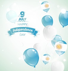 9 July, Argentina Independence Day greeting card. Celebration background with flying balloons and text. Vector illustration