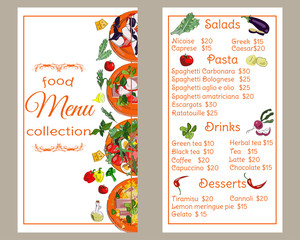 Restaurant menu vertical template. Food menu design. Vector drawn sketch illustration.