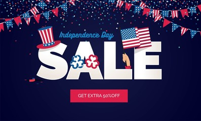 USA Independence day Sale vector illustration. Sale poster with confetti, bunting flags, text and hat.