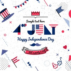 4 July USA Independence Day abstract background in 80s memphis style. Hipster bright color background. Vector illustration
