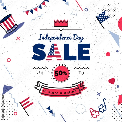daa397eb76028 USA Independence day Sale vector illustration. Sale poster with geometric  shapes. Vector background in retro 80s