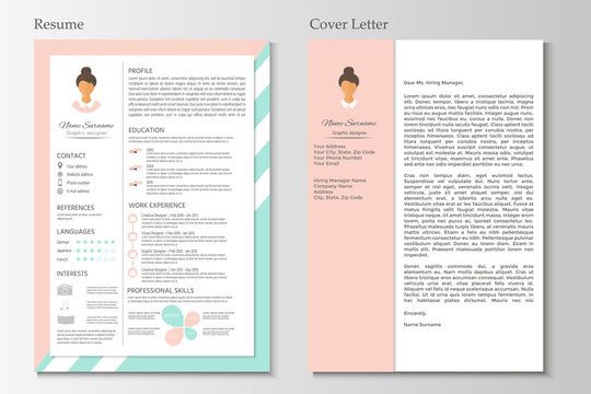 Feminine resume with infographic design. Stylish CV set for women.