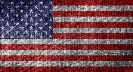 Waving Flag United States , United States flag on soft and smooth silk texture