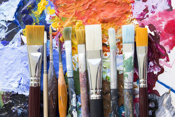 Concept of Individuality, Various Paintbrushes on a Palette