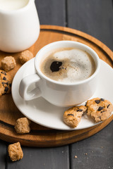 black coffee beans on black background