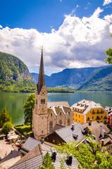 Fototapete - Fantastic view on Hallstatt village and alpine lake, Austrian Alps,  Salzkammergut, Austria, Europe