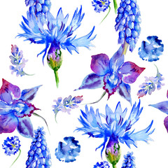 Wildflower violet flower pattern in a watercolor style isolated.