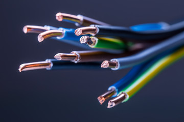 Group of colored electrical cables - studio shot.