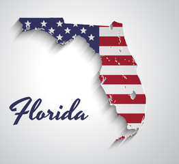Map of Florida . Abstract vector paper map with USA flag
