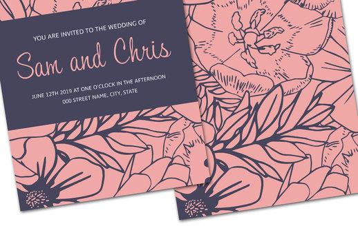 Pink and Dark Blue Floral Wedding Invitation Layout