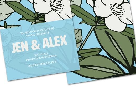 Light Floral Wedding Invitation Layout