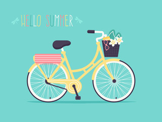 Hello Summer. Vector Illustration of Yellow Bicycle with Flip Flops and Plumeria Flower in Basket. Flat Design Style.