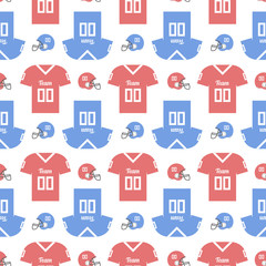Seamless pattern with a football helmet and t-shirts. Good for wrapping paper, postcards and promotional products.
