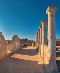 Fototapete - Ancient temple columns in Kato Paphos Archaeological Park on Cyprus