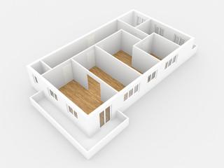 4 Zimmer Wohnung mit Balkon, Ansicht Perspektive