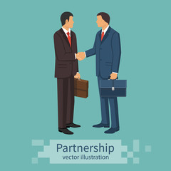 Partnership concept. Business meeting. Two businessmen in suits with briefcase shake hand. Handshake symbol successfu deal. Vector illustration flat design isolated on background. Professional people.