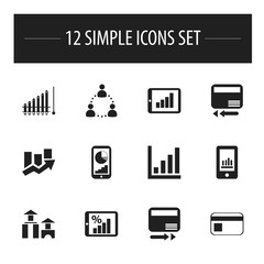Set Of 12 Editable Statistic Icons. Includes Symbols Such As Pay Redeem, Report, Smartphone And More. Can Be Used For Web, Mobile, UI And Infographic Design.