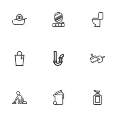 Set Of 9 Editable Cleanup Icons. Includes Symbols Such As Bucket, Sweeping Tools, Vacuuming Man And More. Can Be Used For Web, Mobile, UI And Infographic Design.