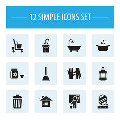 Set Of 12 Editable  Icons. Includes Symbols Such As Bathroom, Housekeeping Cart, Trash And More. Can Be Used For Web, Mobile, UI And Infographic Design.