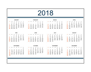 Business calendar for wall or desk year 2018