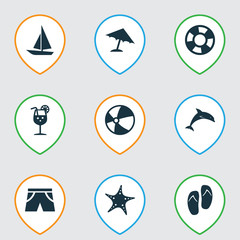 Season Icons Set. Collection Of Mammal, Smelting, Ship And Other Elements. Also Includes Symbols Such As Fish, Circle, Starfish.