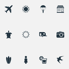Vector Illustration Set Of Simple Beach Icons. Elements Sunrise, Photography, Sun And Other Synonyms Beverage, Lemonade And Airplane.
