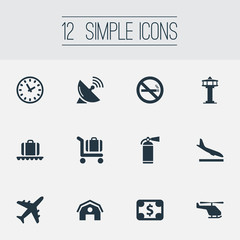 Vector Illustration Set Of Simple Plane Icons. Elements Cigarette Forbidden, Antenna, Watch And Other Synonyms Tower, Money And Luggage.