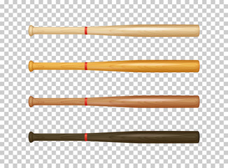 Illistration of realistic wooden baseball bat icon set. Closeup isolated on transparent background. Design template in vector.