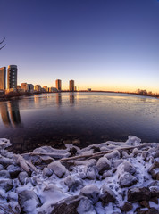 Melted ice at the end of winter season. Location: Humber Bay Park, Toronto, Ontario, Canada