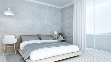 Wall Mural - 3D Rendering corner interior bedroom space and view nature