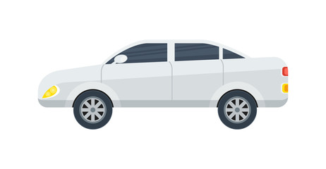Modern sedan isolated icon. Family car, modern automobile, people transportation side view vector illustration.
