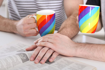 Happy gay couple holding hands together during breakfast