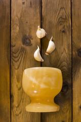 Garlic in mortar