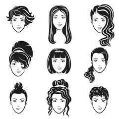 Vector set of women avatar hairstyles stylized logo set. Female hair style icons emblem.