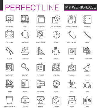 Office workspace thin line web icons set. Outline stroke icons design.