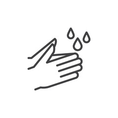 Wash hands line icon, outline vector sign, linear style pictogram isolated on white. Hygiene symbol, logo illustration. Editable stroke. Pixel perfect