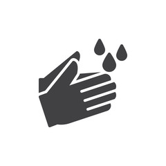 Wash hands icon vector, filled flat sign, solid pictogram isolated on white. Hygiene symbol, logo illustration. Pixel perfect