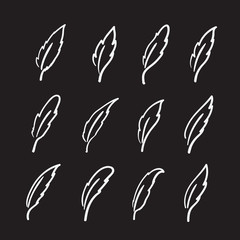 Vector group of hand drawn feather on black background.