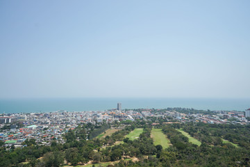top view of city nearby the sea in the south of Thailand