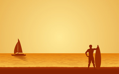 Silhouette man surfer carrying surfboard on beach under sunset sky background in flat icon design