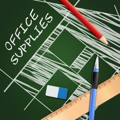 Office Supplies Showing Company Materials 3d Illustration