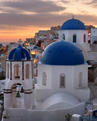 Fotomurales - Saint Spyridon Church and Anastasis Church in the Morning, Oia, Santorini, Greece