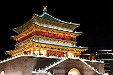 Bell Tower of Xi'an, located in the heart of downtown Xi'an, China