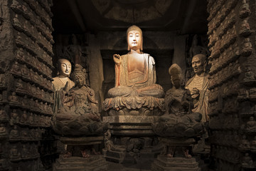Canvas Prints Xian Stone Buddha and relics from Zhongshan Grottoes Xian, China