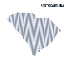 Vector abstract hatched map of State of South Carolina isolated on a white background.