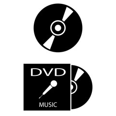 Set of 2 vectors. Pictogram cd or dvd icon. Black icon on white background.