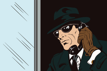 Spy with antique phone. Stock illustration.